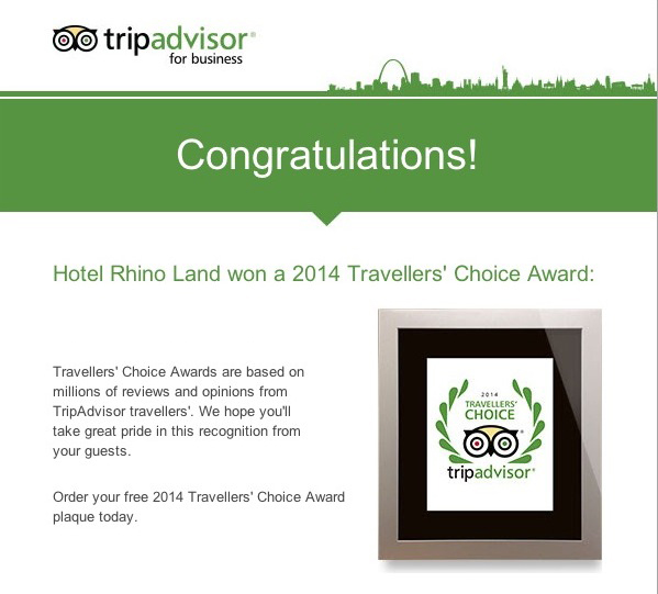 Trip Advisor's 2014 Traveler's Choice Award