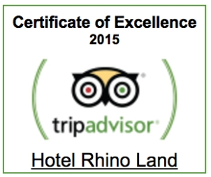 Trip Advisor Certificate of Excellence 2015 Hotel Rhino Land
