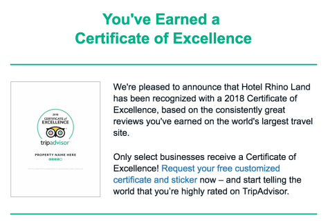 Hotel Rhino Land - Trip Advisor Certificate of Excellence 2018